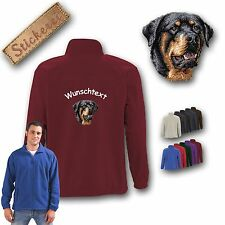 Cuddly Fleece Jacket Jacket Back Dog embroidered with Rottweiler + Desired text