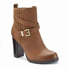 NEW! Juicy Couture Designer Zippered Ankle Boots Shoes - Cognac Brown