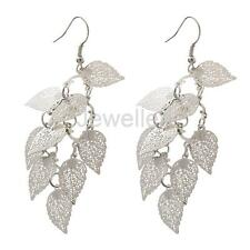 Fashion Metal Vintage Gold Silver Leaves Charms Dangle Long Ear Hook Earrings