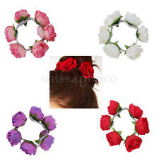 2pcs Bridal Flower Garland Floral Head Knot Hair Top Scrunchie Elastic Band