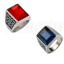 NEW Silver Men's Cool Stainless Steel Blue/Red Square Gemstone Casted Band Ring