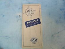 1954 AAA  HILLSDALE   MICHIGAN  fold out map From Collection 17x21