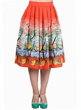 New Kitsch 50s Vintage Style Palm Springs Tropical Print Swing Skirt Rockabilly