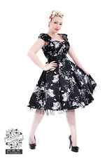 Hearts Roses Black White Floral Dress Rockabilly PinUp Vintage Plus Size 8-26