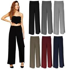New Womens Baggy Wide Legged Stretchy Trousers Pants Flared Palazzo Trousers