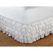 Beautiful Shabby Cottage Chic White 5 Tiered Frilly Ruffled Bed Skirt Bedskirt