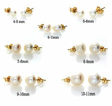 14k Yellow Gold White Freshwater Pearl Stud Earrings 14ct Butterfly Bridal Gift