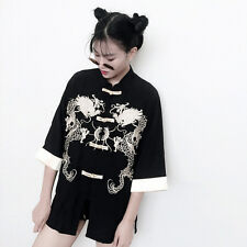 Vintage Chinese Style Harajuku Cotton Chinese dragon Embroidery Jacket Coat Tops