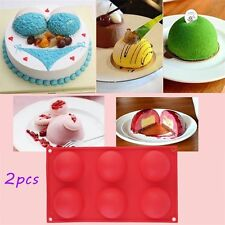 2pc 6 Half Ball Round Chocolate Cake Candy Soap Mold Flexible Silicone Mould HC~