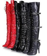 Punk Womens Buckle Lace Up High Heel Over Knee Thigh Leather Pointy Toe Boots Sz