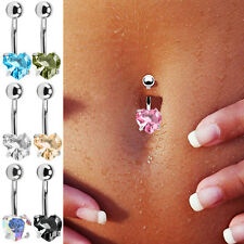 Navel Belly Button Bar Ring Heart Love Rhinestone Crystal Ball Body Piercing US