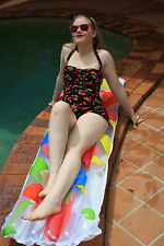Miss Elinor 1950's One Piece Swimmers with skirt. Black With Cherries Print