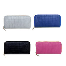 Women Zipper Wallet Purse Clutch Bag PU Leather Card Soft Holder Long Version
