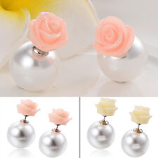 1 Pair Korean Jewelry Charm Silver Plated Rose Flower Pearl Stud Earrings