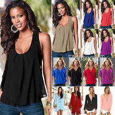 Plus Size Womens Summer Sexy Chiffon Tank Top Ladies Casual T-Shirt Loose Blouse