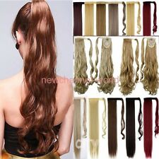 US 100% Real New Clip In human Hair Extension Pony Tail Wrap Around Ponytail NW8