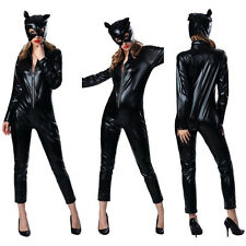 Women Sexy Catwoman Jumpsuit Uniform Costume Cosplay Halloween Party Outfits