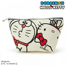 Hello Kitty x Doraemon Cotton Cosmetic Pouch Bag Purse Sanrio from Japan S5142