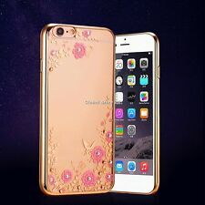 Luxury Diamond Electroplating Super Flower Pattern TPU Phone Case for iPhone GS