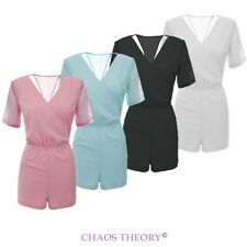 WOMENS LADIES V NECK JUMPSUIT CHIFFON WRAP PLAYSUIT DRESS SIZES 8-14