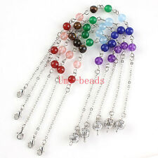 Silver/Gold Plated 7 Natural Stone Round Beads Chakra Link Chain Jewelry Finding