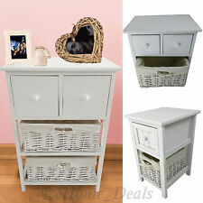 Shabby Chic Basket Drawer Cabinet Wicker Beside Table Storage Unit White Wooden