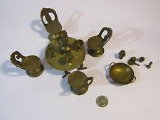Vintage Doll House Furniture 16 Piece Brass Dining Room Table Chairs Coffee Set