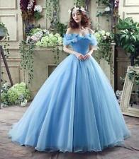 Fashion New Women's Blue Bridesmaid Dress Evening Party Dress Off Shoulder Gowns