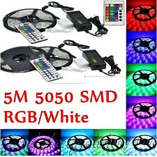 5M  5050 SMD  RGB White LED Strip Flexible Lights 300leds Tape Lampada IP20 IP65