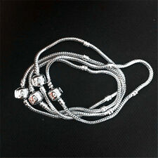 10pcs Silver/ Plated 3mm Love Snake Chain Fit European Beads Charm Bracelet