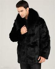 Winter New Men Fashion Fox Fur Collar Faux Rabbit Fur Coat Black Casual Jacket