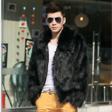 Men Winter Black Fashion Longhaire Faux Fur Coat Fox Fur Turn-down Collar Jacket