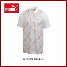 Puma Golf Men's Duo Swing Plaid White Polo Golf Shirts Small Medium Large $80
