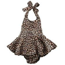Newborn Baby Kids Leopard Print Rompers Toddler Girls Backless Jumpsuit Outfits