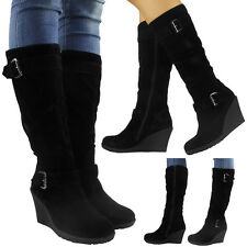 WOMENS LADIES MID CALF SHOES BUCKLE KNEE WORK CASUAL MID HEEL WEDGE BOOTS SIZE