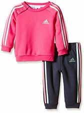 adidas girls pink/navy infant/baby tracksuit. Jogging suit. Sizes 0M - 3Years