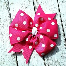 "Hot Pink with White Dots Polka Dot Hair Bow - 4"" Bow - Clip or Barrette"
