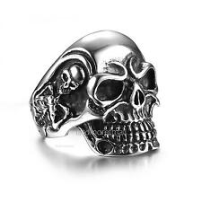 Fashion Jewelry Men's Cool Skull Heads 316L Stainless Steel Punk Gothic Ring