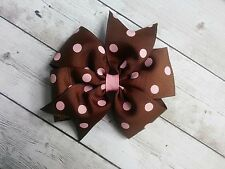 "Brown with Pink Dots Polka Dot Hair Bow - 4"" Bow - Clip or Barrette"