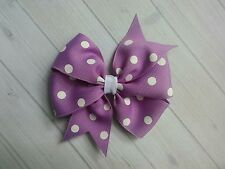 "Purple with White Dots Polka Dot Hair Bow - 4"" Bow - Clip or Barrette"