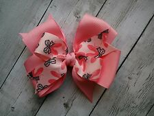 """Pink and Black Ballet Slipper Dance Double Layer Hair Bow 4"""" Bow Clip Barrette"""