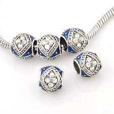 10/5Pcs Silver plated charm Enamel beads Fit bracelets chain jewelry 2-color