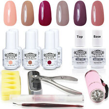 14pcs UV Gel Nail Polish Set Top Base Gel Tips Pusher Cuticle Nail Art Kit Tools