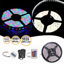 5M SMD 3528 Cool White RGB Waterproof 300 LED Strip Light Dimmer Adapter Remote