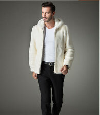 2016 New Faux Mink Fur Coat Men's Hooded Jacket General Section Pure White Cloth