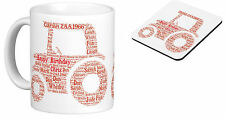 Personalised Mug (with coaster) Word Art Tractor - your own words, gift Birthday