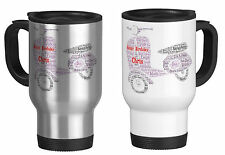 Personalised Travel Mug with Word Art scooter vespa with your own words gift