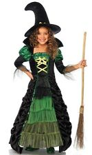 Green Black Halloween Witch Child Costume Tiered Ruched Skirt Tulle Wicked Girls