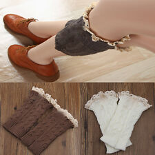 Women Lady  retro Crochet Knitted Lace Trim Boot Cuffs Toppers Leg Warmers Sock