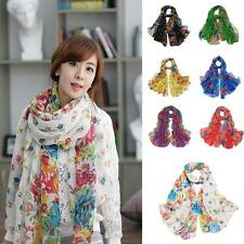 Woman Lady's Warm Soft Floral Print Voile Scarf Chiffon Neck Wrap Shawl Scarf